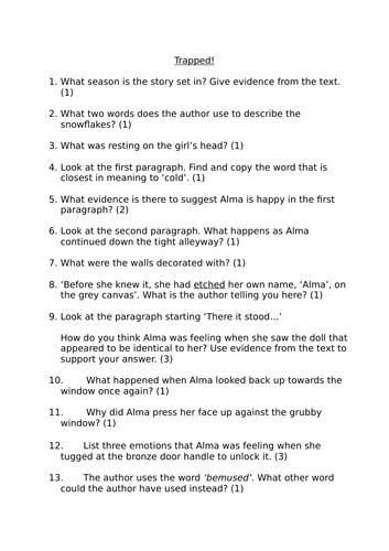 Y6 Reading comprehension