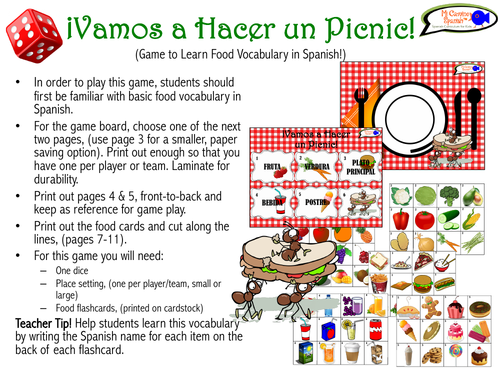 Spanish Picnic Game! (Game to Learn Food Vocabulary in Spanish!)