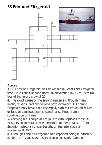 SS Edmund Fitzgerald Crossword