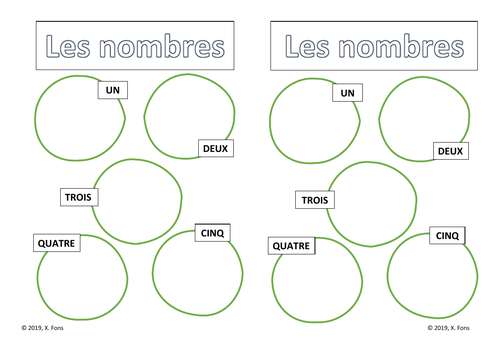 French numbers 1-10. Worksheet