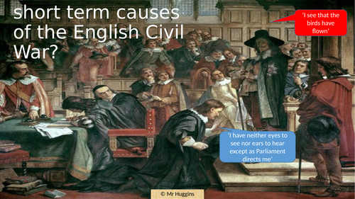 What were the Short Term causes of the English Civil War?