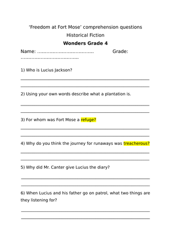 Grade 4 Wonders (McGraw-Hill) Reading Comprehension Unit 6 week 2