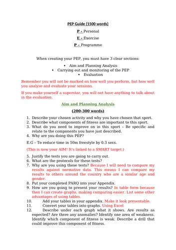 PEP Guidance Sheet