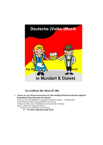 AS German oral Questions to topic Music and suggested answers from AQA markschemes
