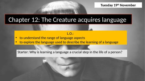Frankenstein: Chapter 12 (The Creature acquires language)