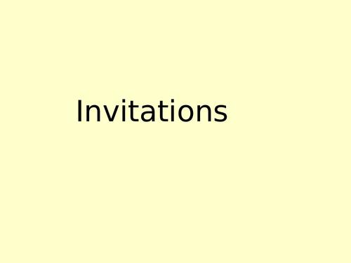 Powerpoint  Speaking activity on Invitations