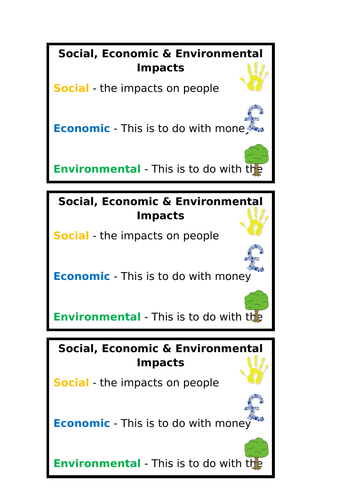 Social, Economic & Environmental Impacts