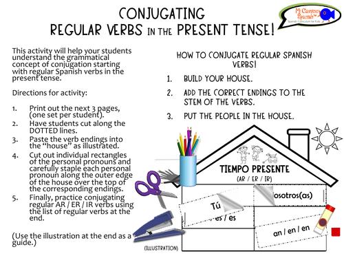 Present Tense Conjugation Activity/Craft - Regular Spanish Verbs