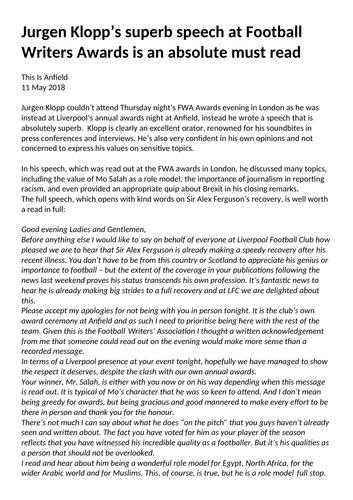Jurgen Klopp Football Speech Reading Comprehension Year 5/6