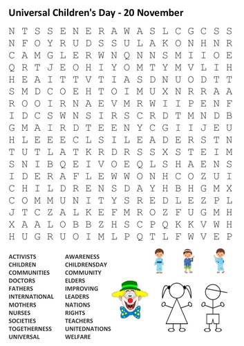 Universal Children's Day Word Search