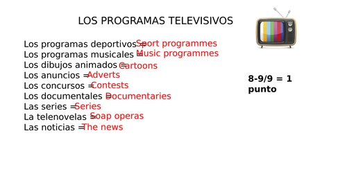 Tv Opinions and Reasons - Spanish - Year 9 - Lo bueno - Lo malo
