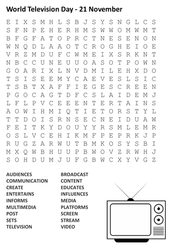 World Television Day Word Search