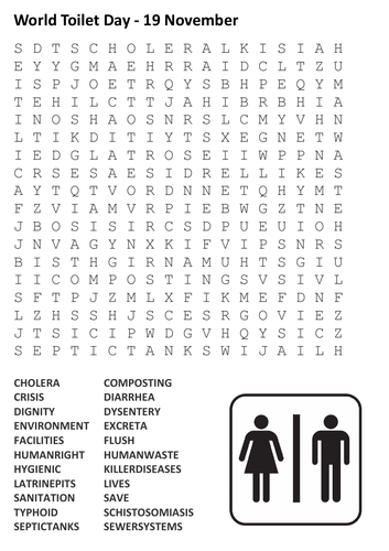 World Toilet Day Word Search