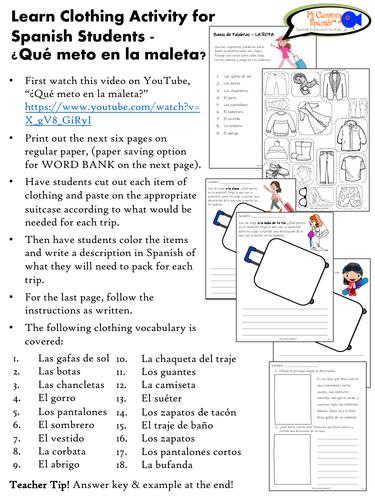 Learn Clothing Activity for Spanish Students - ¿Qué meto en la maleta?