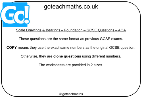 Scale Drawings & Bearings - GCSE Questions - Foundation - AQA