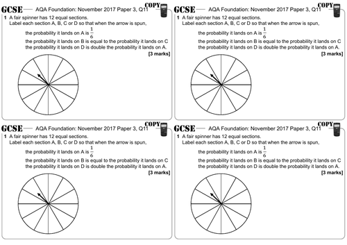 Probability - GCSE Questions - Foundation - AQA