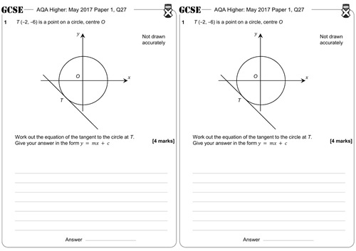 The Equation of the Tangent to a Circle - GCSE Questions - Higher - AQA