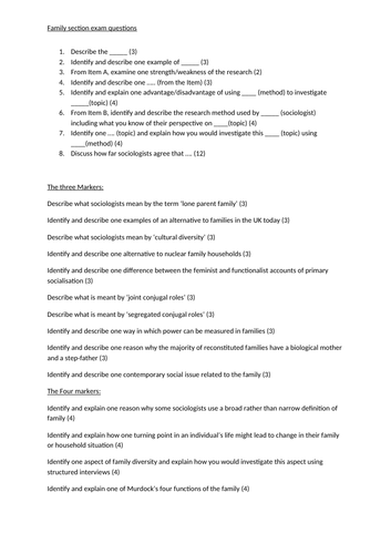 GCSE Sociology - Question Bank for All topics.