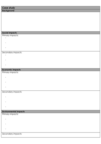 Geography Case Study template
