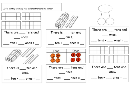 Year 1- Place Value- Identifying how many tens and ones in a number