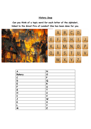 Great Fire of London Alphabet Soup