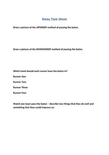 Relay non participant sheet
