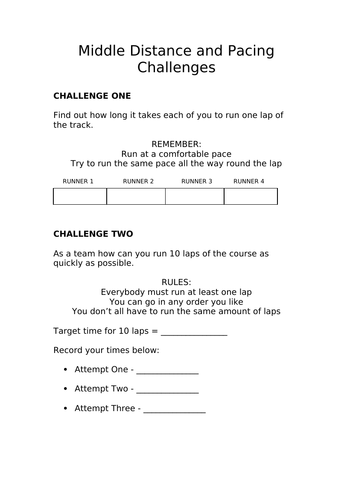 Middle distance pacing challenge