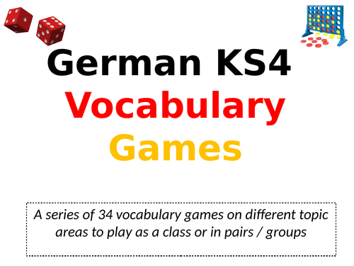 German Key Stage 4 Vocabulary Games for GCSE
