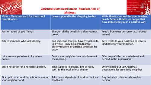Christmas random acts of kindness homework