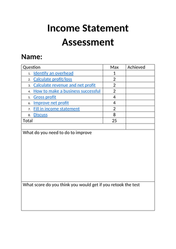 KS4 Business Income Statement Test & Answers