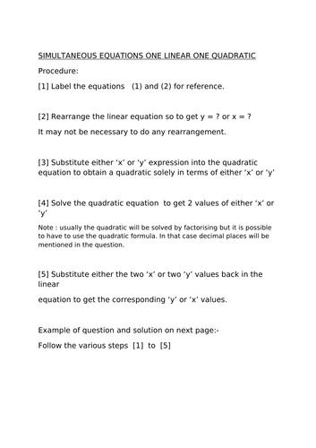 Simultaneous equations with quadratic GCSE.