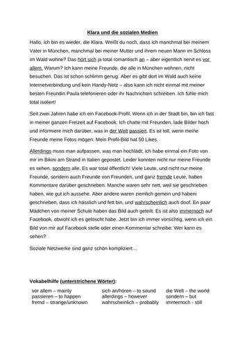 """Text: Social Media (from the """"Klara"""" series)"""