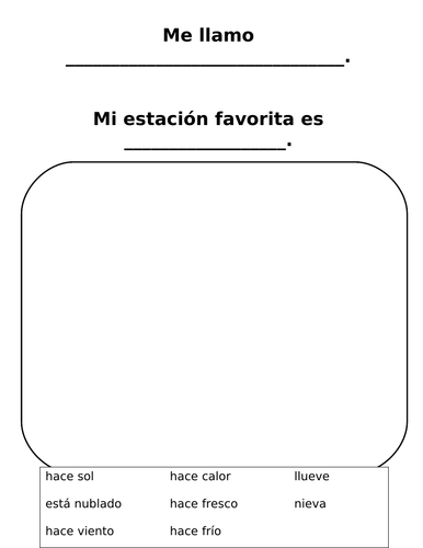 Mi Estacion Favorita Easy Spanish I Weather And Season Worksheet