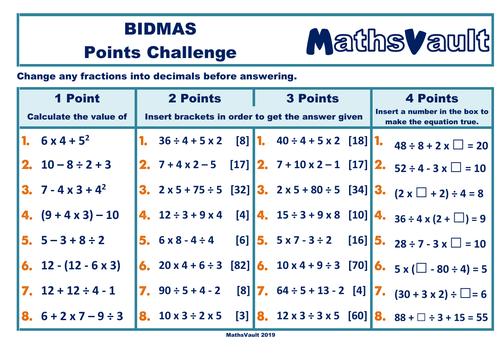 BIDMAS Points Challenge Worksheet