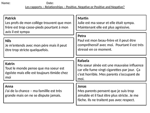 FRENCH FAMILY RELATIONSHIP 22 SLIDES