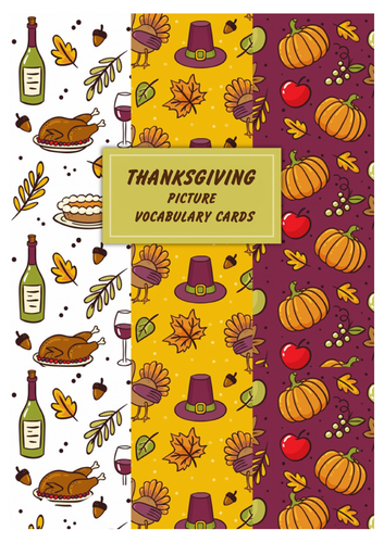 Thanksgiving Picture Vocabulary Cards