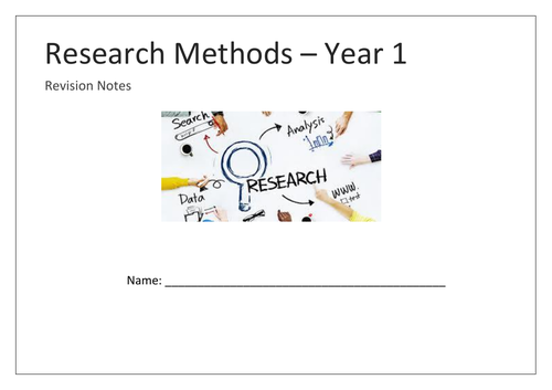 Research Methods Year 1 mind map booklet
