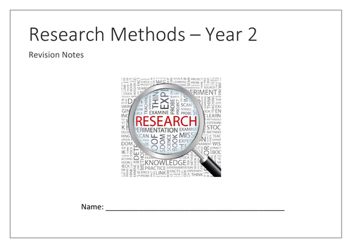 Research Methods Year 2 mind map booklet