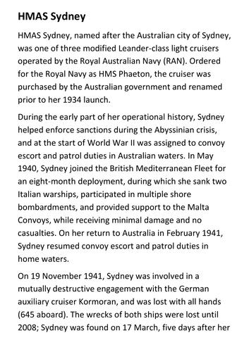 HMAS Sydney Handout