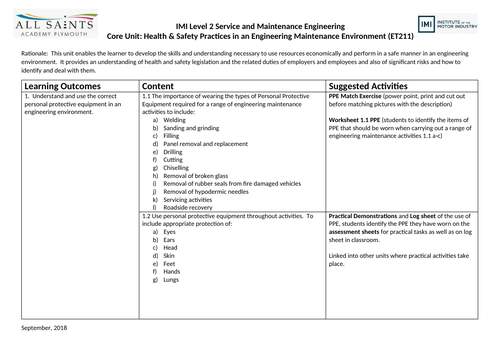 IMI Level 2: Health & Safety Practices in an Engineering Environment SOW / Unit Overview