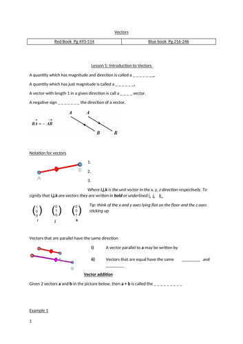 Vectors A level Notes, solution and autograph files to help explanations