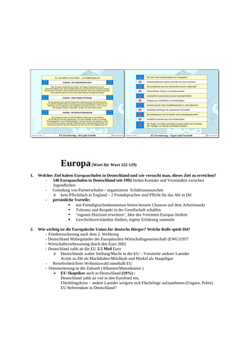 AS German topic EUROPE questions and answers suggested by AQA markschemes