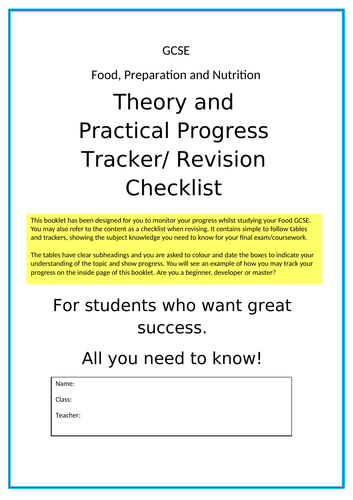 GCSE Food, Preparation and Nutrition - 22 Page Theory, Practical and Assessment Tracker Booklet