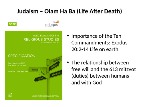 Olam Ha-Ba Life After Death Judaism Eduqas