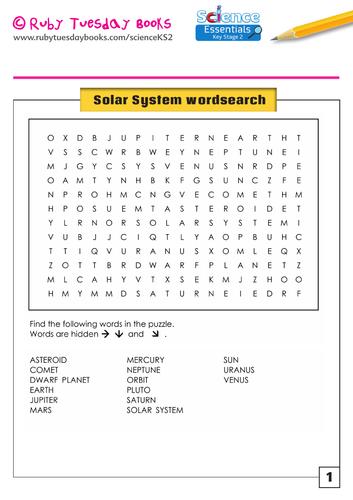 Solar System Wordsearch