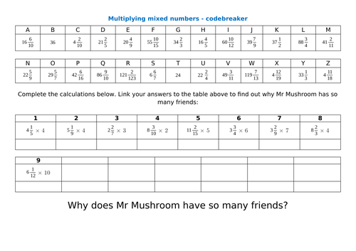 multiply mixed numbers by whole numbers (integers) - worksheets and challenges - Y5 & Y6