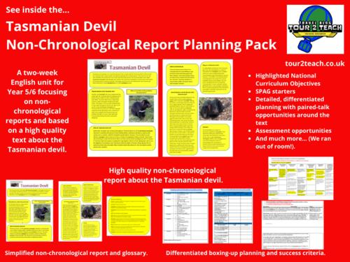 Non-chronological Report Planning: Year 5/6: Australian Animals: Tasmanian Devil