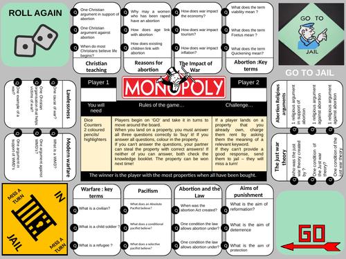 Monopoly- abortion &  Modern warfare  edition GCSE revision