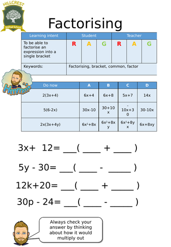 Factorising linear expression worksheet   Teaching Resources