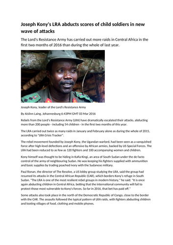 Newspapers and The LRA